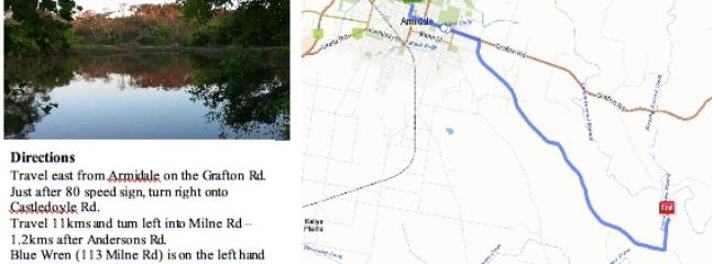Directions to 'Blue Wren'.