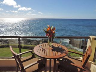 Poipu Shores 305A Deluxe 2BR Oceanfront Retreat. Heated Pool. dbl sized lanai
