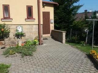 Entrance courtyard with an Austro-Hungarian antique sink plant pot