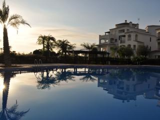 As the sun goes down on the shared pool. Lovely area and quiet location.