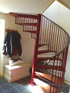 Spiral staircase from the Hall to the loung/kitchen area upstairs