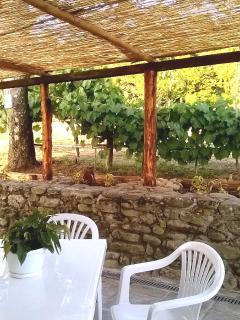 Zona pranzo all'aperto nell'aia privata della 'casina del ciliegio'