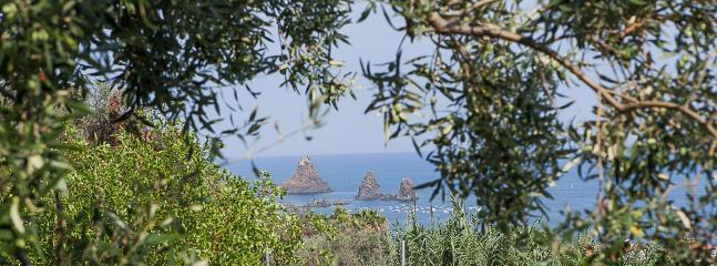 View from the garden the Faraglioni di Acitrezza