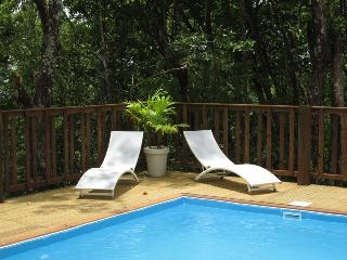 villa 2/4 p foret vue mer,clim, piscine 5mn plage, Bouillante