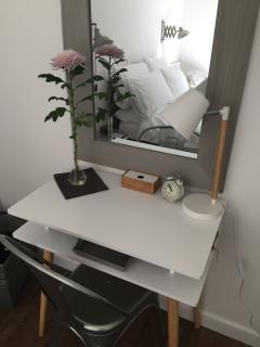 Dressing table/desk and chair with angle lamp