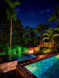 Upper and Lower Pools at Night at Villa Tukad Pangi
