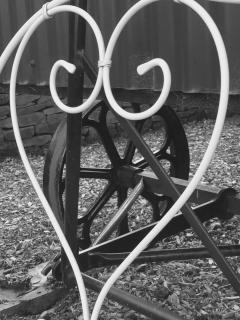 Original cast wheels & a comfy love seat