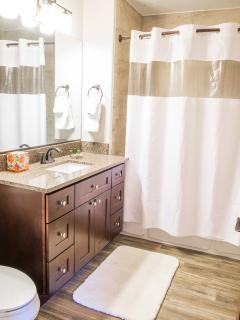 A ground level Bear Lake master bathroom