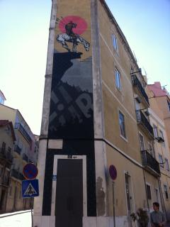 well known artist graffiti art included in tourist tour can be seen from the apartment