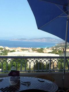 Vue depuis la terrasse de 20m2 , la mer en face, la mer à gauche, les montagnes du regino à droite.
