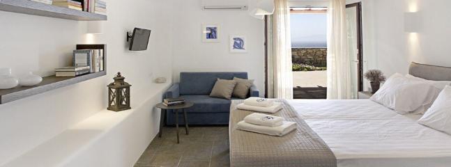 Bedroom with veranda: Aegean Sea views