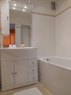 Bathroom (bathtub with shower shield)