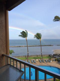 A rainbow view from the lanai