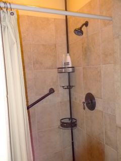 Cathedral Suite Tiled Shower with Grab Bar