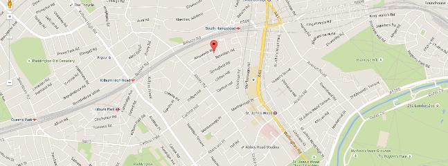 Google Map of the area - flat, tube(s) and parks (Regents Park and Primrose Hill)
