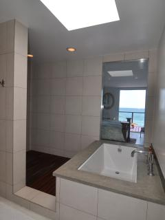 Master bathroom with ocean view.