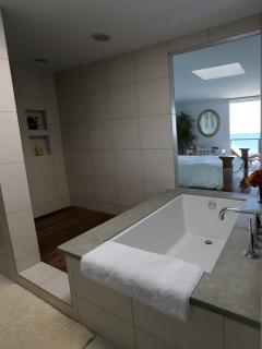 newly remodeled spacious master bath room with ocean view,  tub and separate full pressure rain show