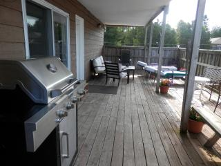 covered deck with bbq, picnic table, chairs and tables