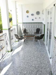 Another photo of the extra long balcony off the Living room