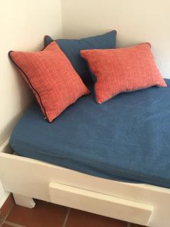 The canape is a single bed in case of a third guest