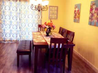 wood dinning table for 9-10 guests high chair also available