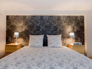 duplex bedroom with queen size bed