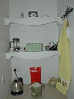 Kitchenette with bar fridge and tea/coffee facility
