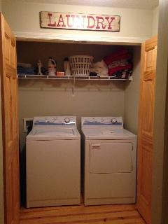 washer & dryer ironing board, iron, steamer