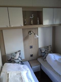 One of the twin rooms with flat screen TV,DVD Player & Freeview