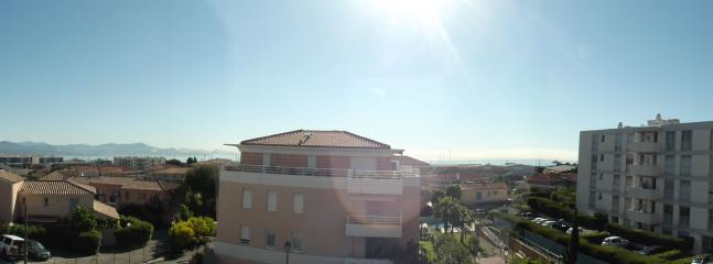 Panoramic view from balcony - Alps, Nice, the Med and entrance to Antibes Marina can all be seen,