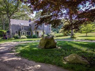 Stately home with a swimming pond, waterfall, hot tub, and treehouse!, West Tisbury
