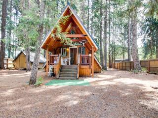 Charming A-Frame with modern appliances & a private patio!