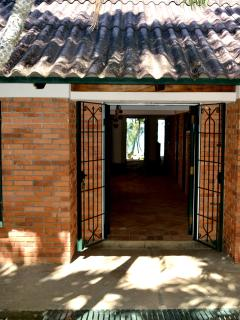 Main entrance, through the back