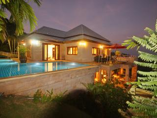 Tropical villa in the evening