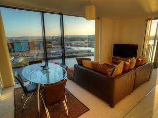 Living Room with stunning views over the River Clyde