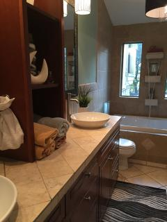 Master Bathroom with waterfall faucet for bathtub.  2 vanity sinks and walk-in shower