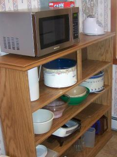 Kitchen area includes a microwave, blender, crock pot, electric skillet, etc.