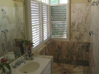 Large walk in marble showers for the 2 master bedroom suites
