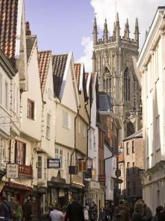 Stonegate in York leading up to York Minster