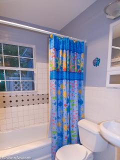 Bathroom has tub/shower combo. Additional shower outdoors