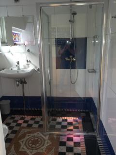 badkamer. douchegedeelte en wastafel