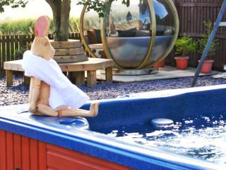 Hot tub, garden pod.