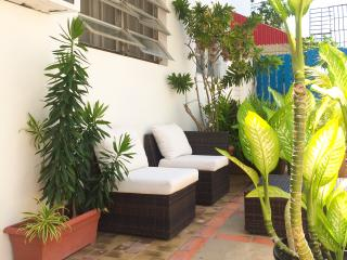 One of our Studio apartments' outdoor seating area.