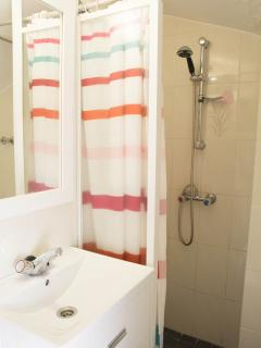 small bathroom with shower ( 2nd bathroom with a bath)