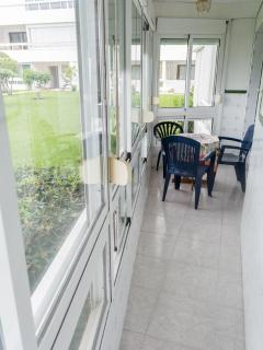 enclosed patio area in apartment