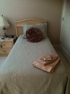 One of the Twin Beds there are 2 in a nice large room with private bath. LCD TV