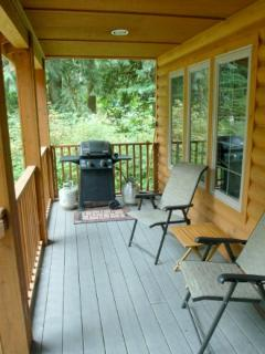 The deck with a gas grill