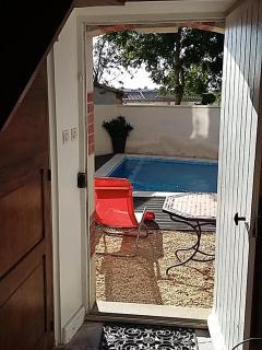 Hallway back door to pool area