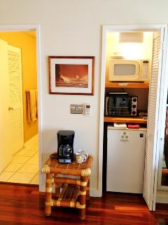 In room dining option-small fridge, microwave, toaster oven, coffee maker, plates, cups, utensils