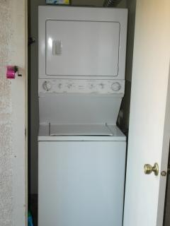 Stacked washer/dryer in balacony
